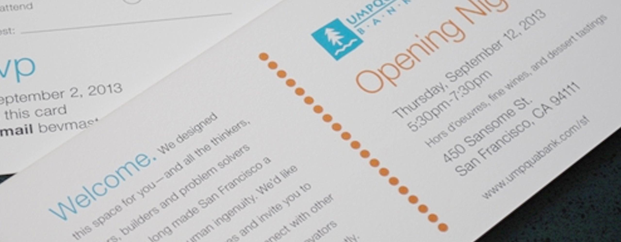 Banner for Umpqua Bank Opening Night Invitation marketing materials