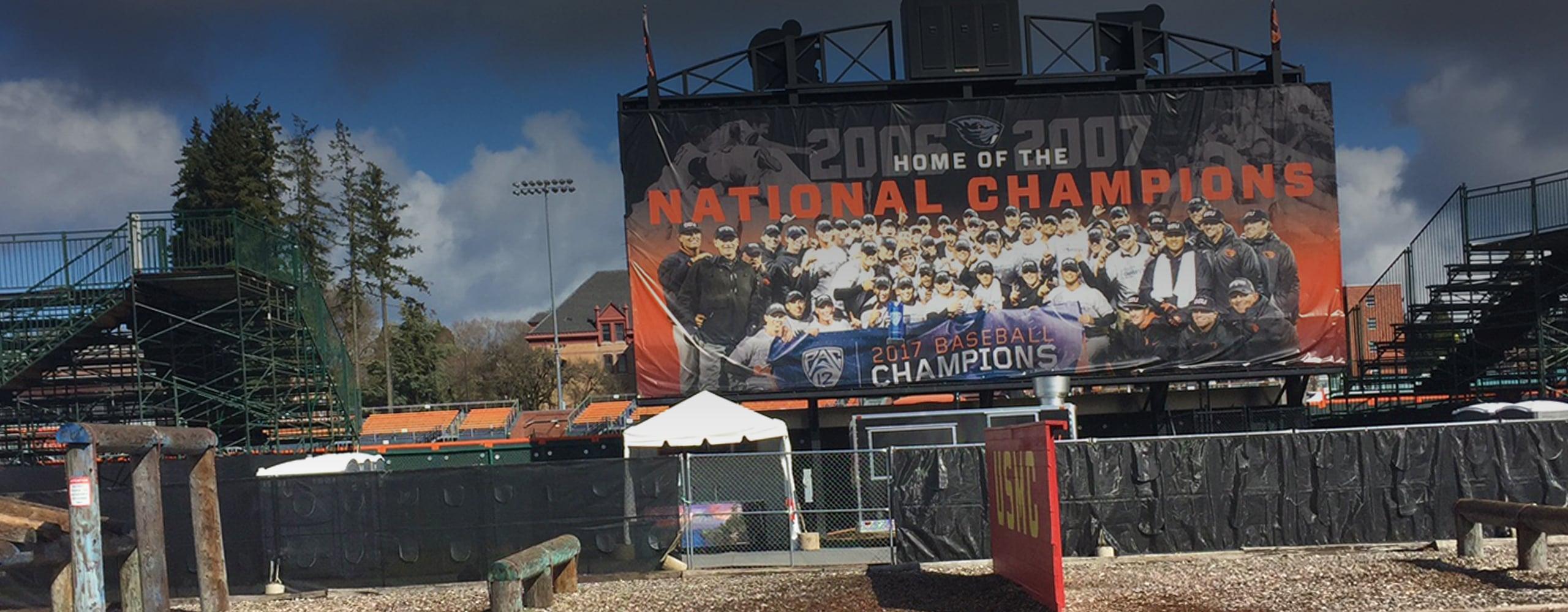 Banner for Oregon State University Goss Stadium Branded Environment