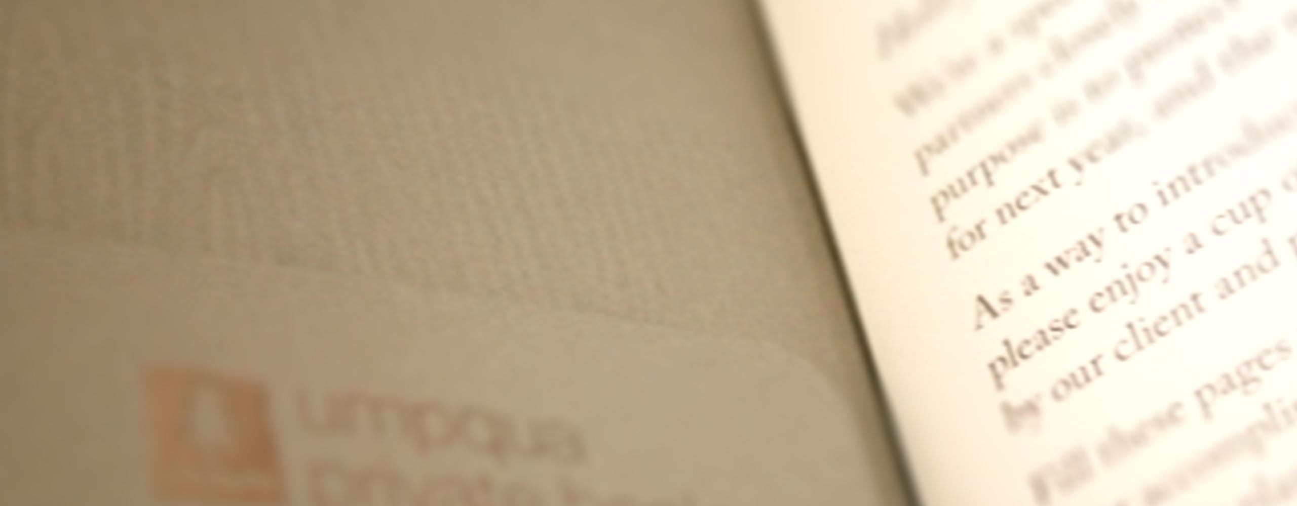 Banner for Umpqua Bank Customer Mini-Journal