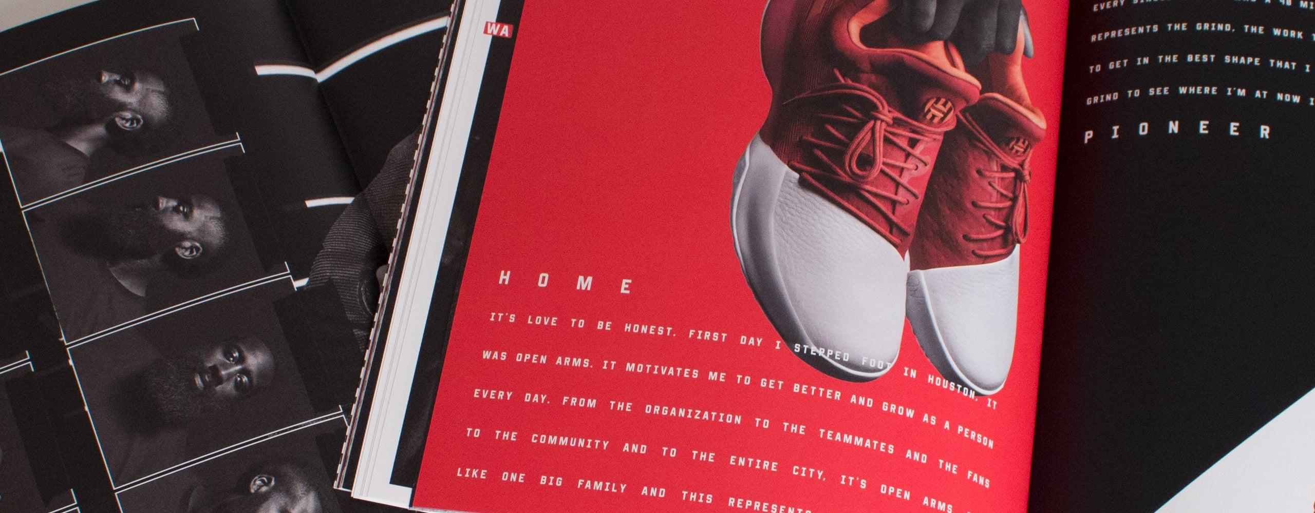 Banner for adidas Harden 'Zine marketing materials