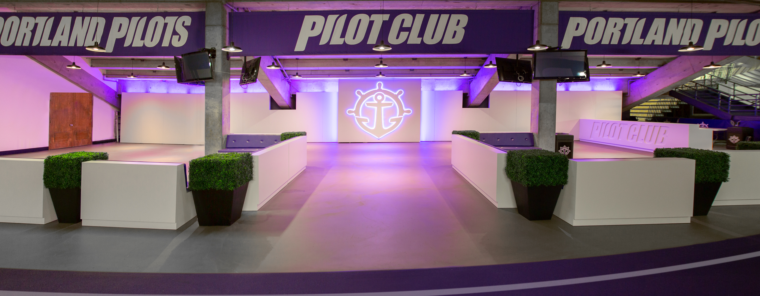 Environmental branding and design for University of Portland's Pilot Club