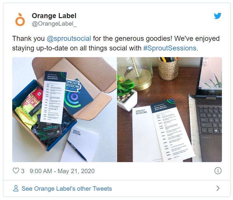 event kit sprout social orange label